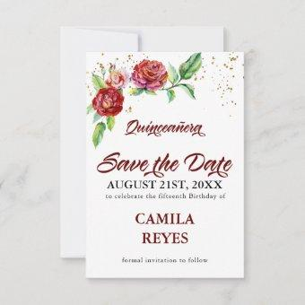 Vintage Red Roses Save The Date