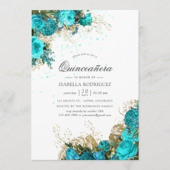 Vintage Turquoise & Gold Shabby Floral Quinceañera