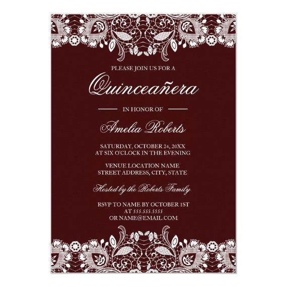 Vintage White Lace Burgundy