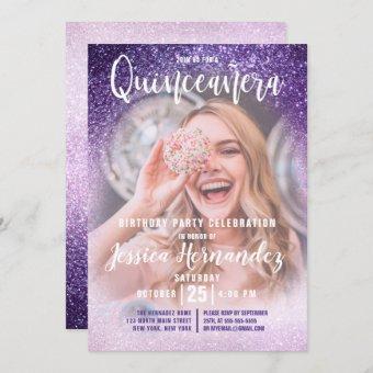 Violet Lilac Triple Glitter Photo Quinceañera
