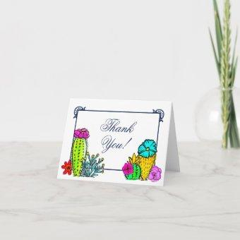 Watercolor Cactus Floral Navy Whimsical Thank You