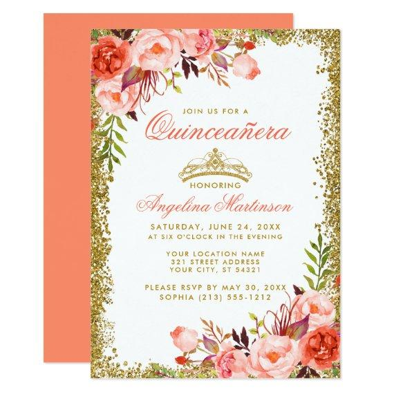 Watercolor Coral Floral Gold Glitter