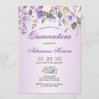 Watercolor Floral Lavender Purple Quinceañera