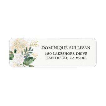 Watercolor Flowers with Faux Gold Glitter and Foil Label