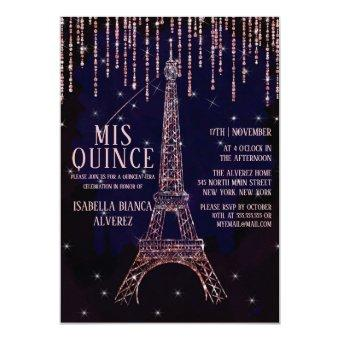 Watercolor Glitter Paris Eiffel Tower Quinceañera