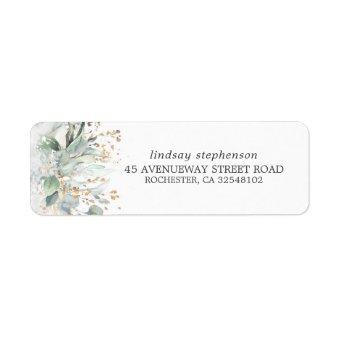 Watercolor Greenery and Eucalyptus Leaves Label