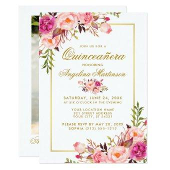 Watercolor Pink Floral Gold Photo