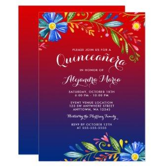Watercolor Red Blue Floral Fiesta