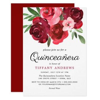 Watercolor Romantic Red Roses Invite