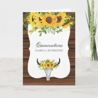 Watercolor Sunflower Rustic Western Quinceañera