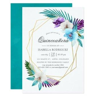 Watercolor Tropical Orchids Geometric Quinceañera
