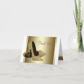 White and Gold High Heel Shoe Thank You
