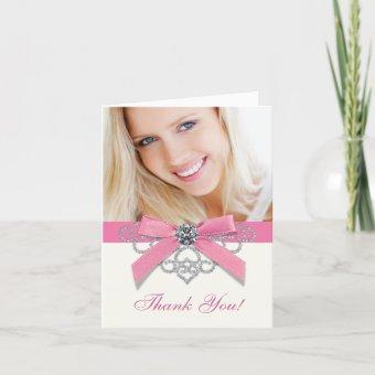 White Diamonds Pink Photo Thank You