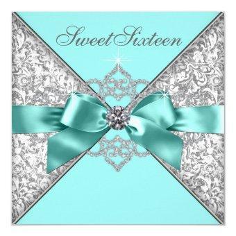 White Diamonds Teal Blue Sweet 16 Birthday Party