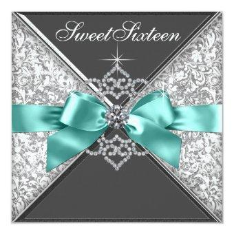 White Diamonds Teal Blue Sweet 16 Birthday Party