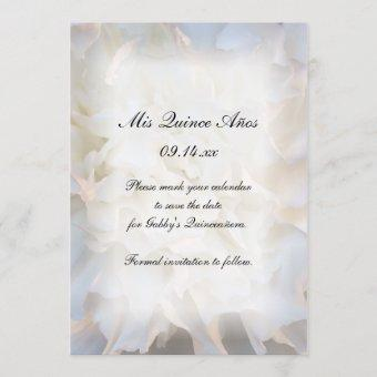 White Floral Quinceañera Save the Date