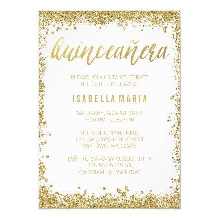 White Gold Faux Glitter Quinceanera 15th Birthday Invitation