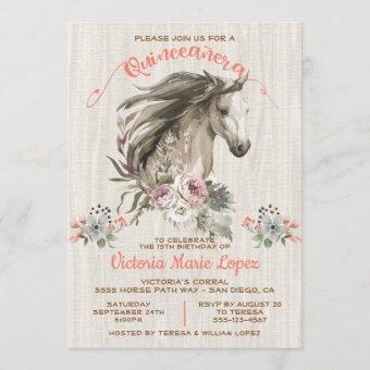 White Horse Cowgirl Quinceañera 15th Birthday Invi