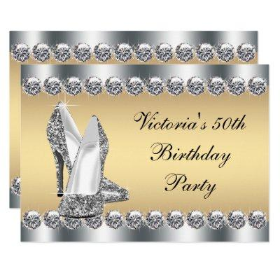 Womans Silver Gold Diamond Bling Birthday Party