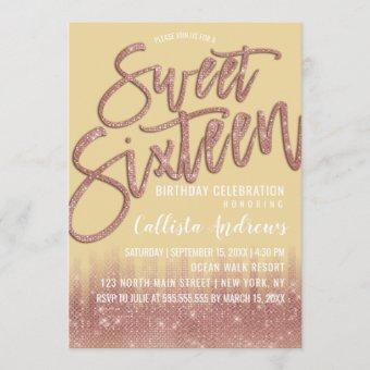 Yellow Rose Gold Glitter Typography Sweet 16